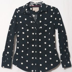 BANANA REPUBLIC Black, White Dots Shirt Blouse